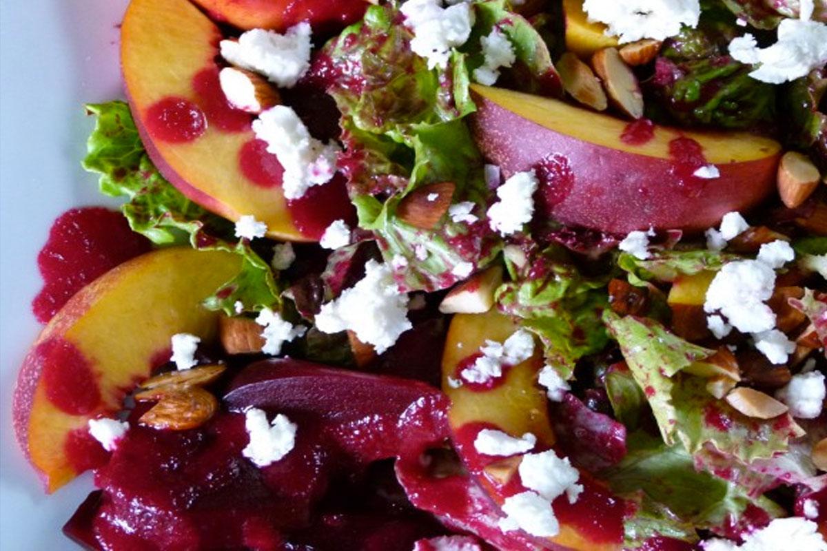 Nectarine & Goat Cheese Salad with Beet Dressing Recipe