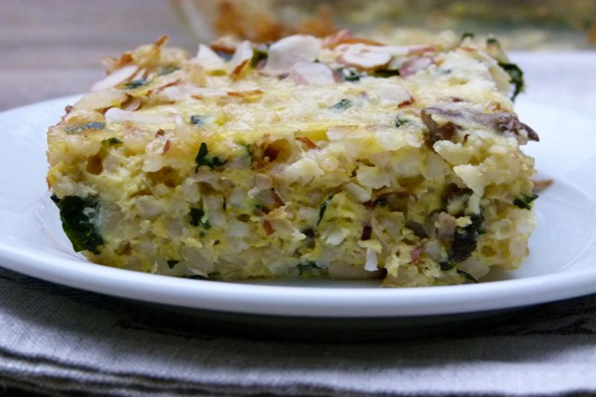 Kale, Mushroom and Brown Rice Bake Recipe