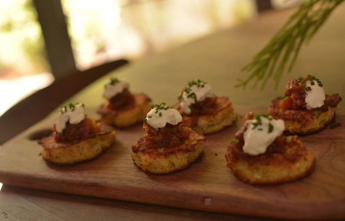 Potato Pancakes with Applesauce, Creme Fraiche & Chives Recipe