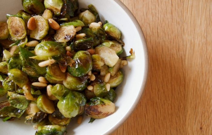 Crispy Roasted Brussels Sprouts with Balsamic Vinegar and Pine Nuts Recipe