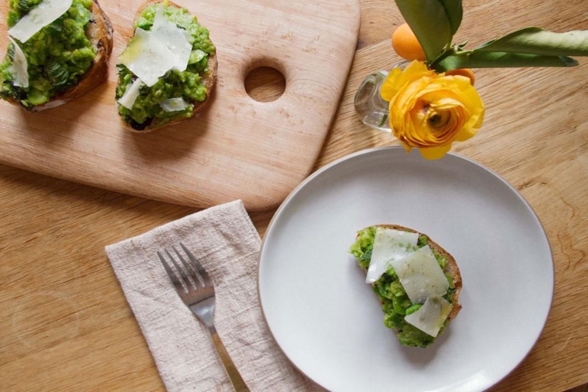 Fava Bean Toast with Mint, Lemon, and Parmigiano Reggiano Recipe