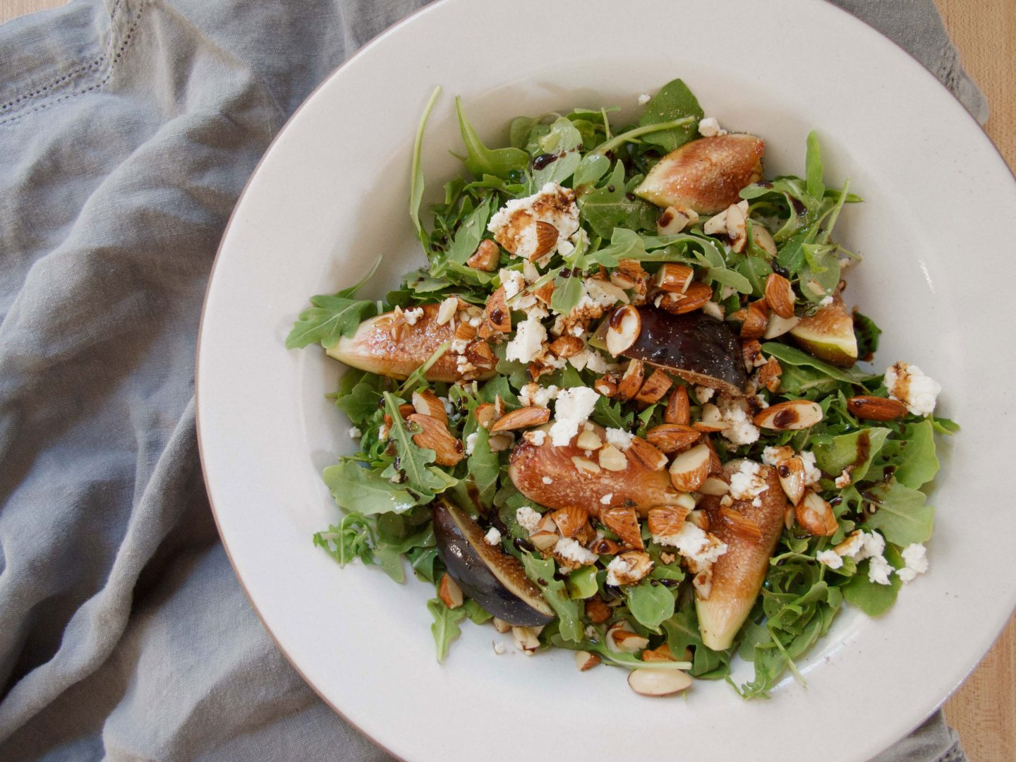 Arugula Salad with Figs, Feta & Thyme Almonds Recipe