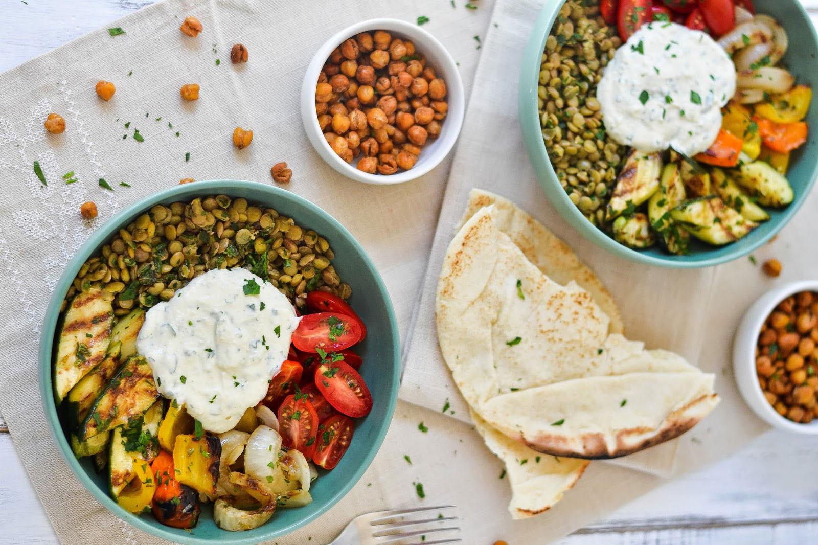 Middle Eastern Grilled Vegetable & Lentil Bowl Recipe