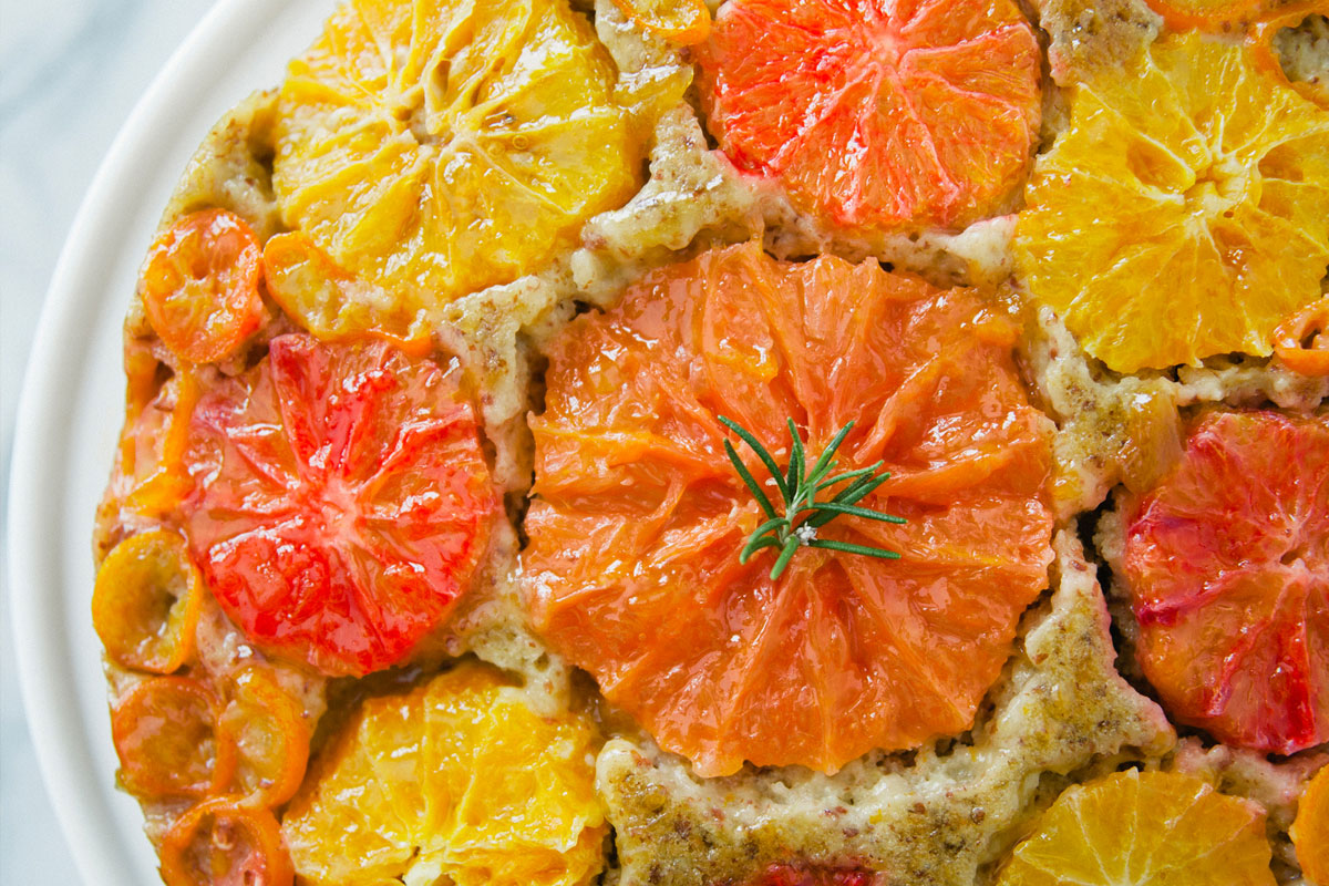 Citrus Almond Olive Oil Upside Down Cake Recipe 0