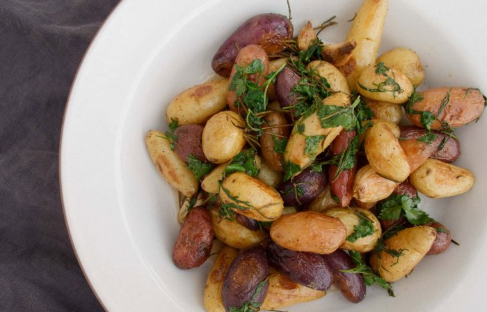 Oven Roasted Fingerling Potatoes with Herbs & Vinegar Recipe