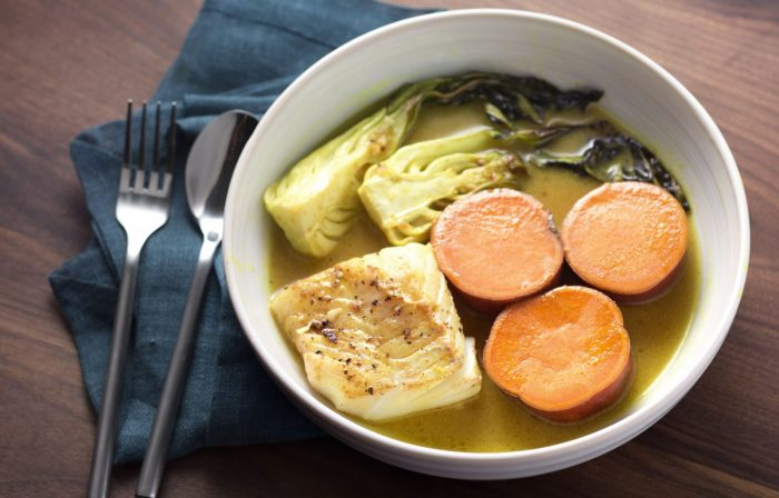 Cod with Gingered Bok Choy, Sweet Potatoes & Lemongrass Broth Recipe