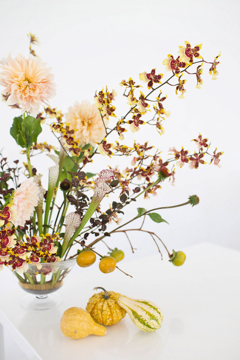 Floral Encyclopedia with Moon Canyon: An Arrangement in Autumn Hues