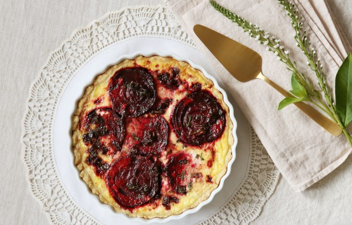 A Savory Beet and Feta Quiche for Valentine's Day