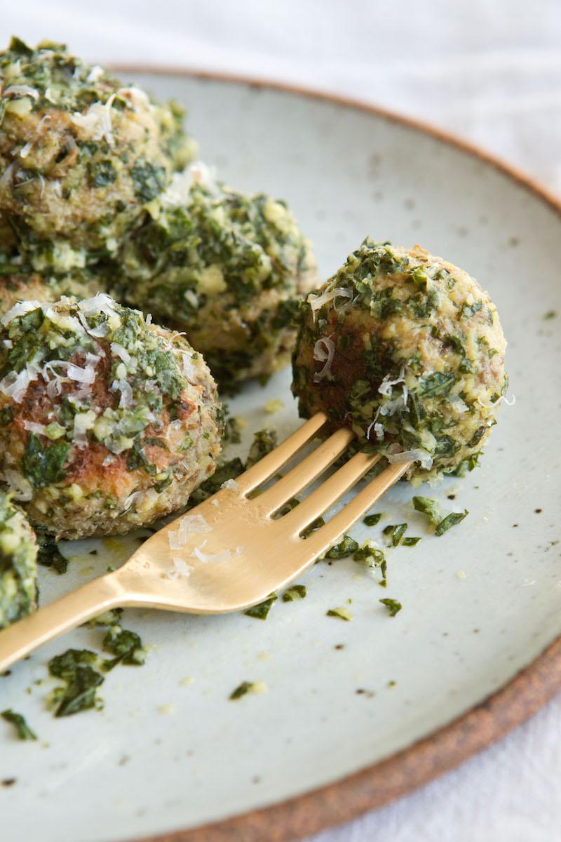 Vegetarian Lentil Meatballs in Lemon Pesto