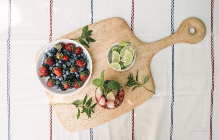 Annie Campbell's Mixed Berry Mojitos and Farmer's Market Fruit Platter