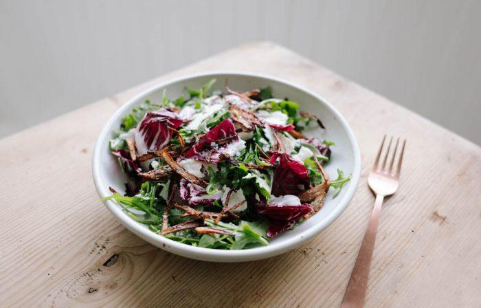Arugula and Radicchio Salad with Crispy Shallots and Shallot Vinaigrette
