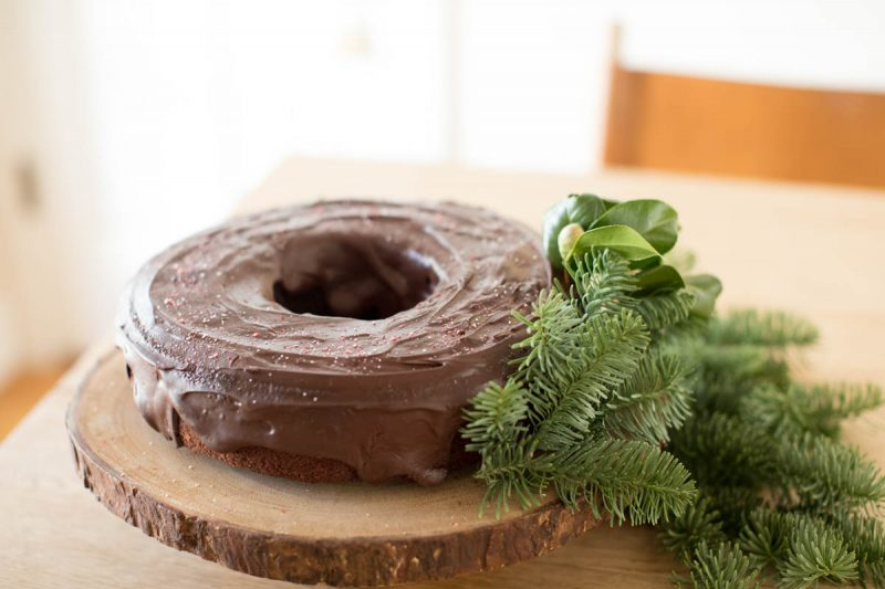 Whole Grain Chocolate Bundt Cake with Peppermint Ganache